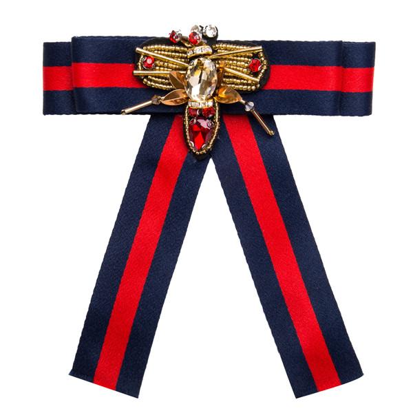 Whole Sale Pretty Red Bow Corsage Beautiful Women Fashion Multi-Layer Rhinestone-Studded Brooch Corsage