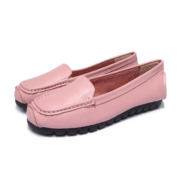 OEM Ladies Pink Cowskin Slip-On Casual Loafers With Black Sole