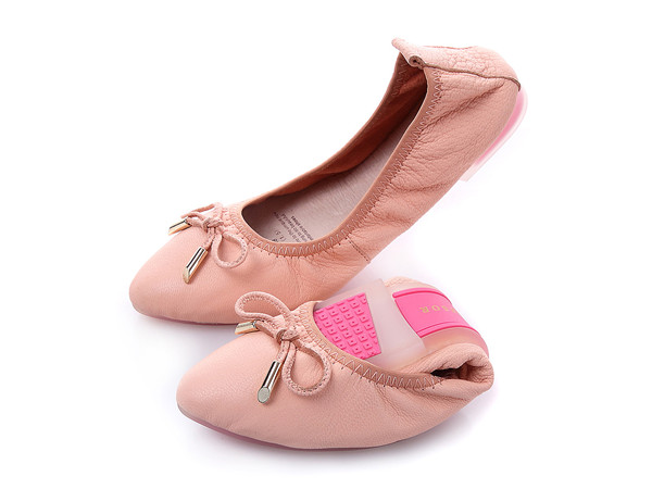 Customize Many Color Foldable Flat Ballet Shoes Women Comfortable Sheepskin Driving Shoes With Pink Transparent Sole