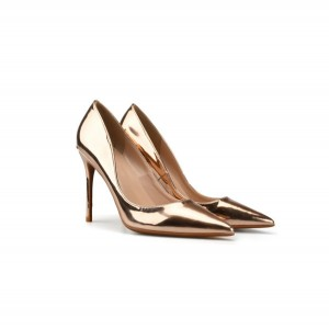 Lady Bronze-Plated Leather Shoes Pointed Toe Stiletto