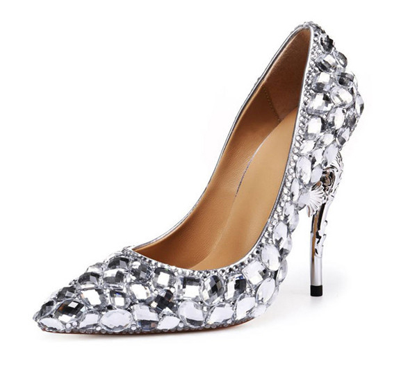 Silver Sequin Crystal Heel Sexy High Heel Shoe