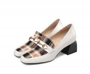 England Style Shoes Round Toe Big Heeled Shoes
