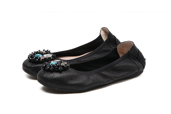 Natural Leather Foldable Flat Shoes Famous Designer Shoes Flat Heel