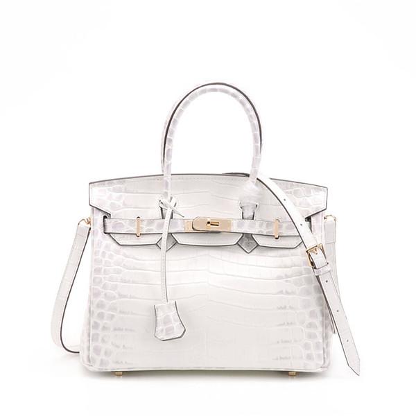 White Crocodile Grain Cowhide Lady Handbags Fashion Designer Bags With Shoulder Strap