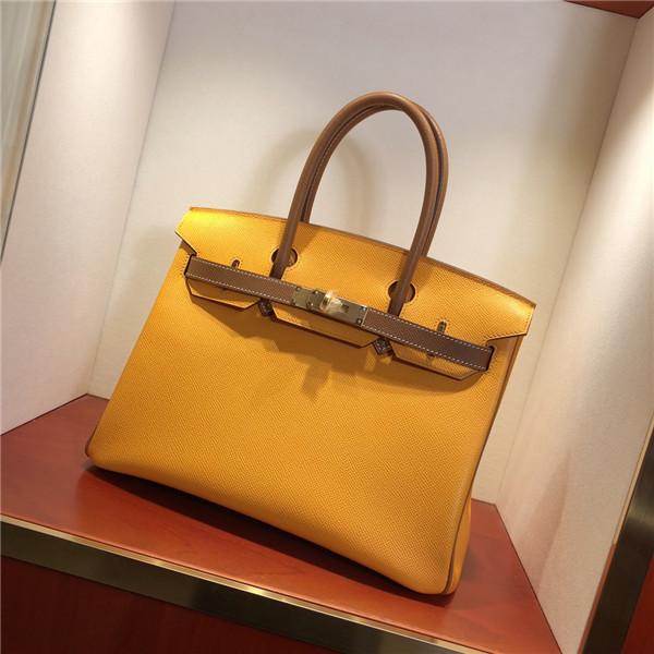 OEM Epsom Leather Purses Handbags Lady Yellow Palm print Bags Handbag 30cm 35cm Featured Image