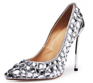 12cm Super High Heels Silver Diamond Sequin Crystal Stiletto Shoes
