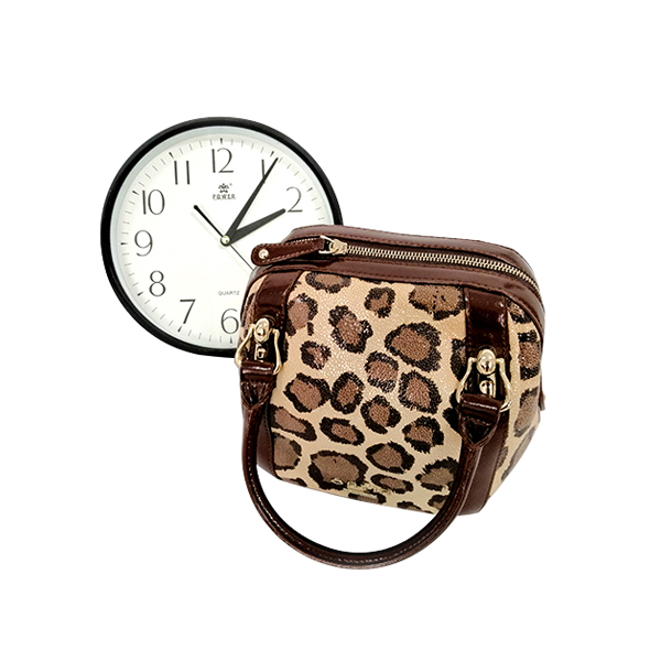 Leopard Print Lady's Leather Handle Bag