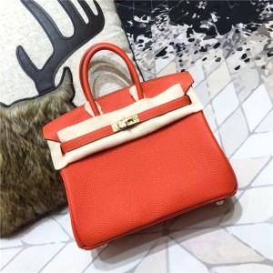High Quality Orange Togo Leather Famous Brand Women Handbags 30cm 35cm