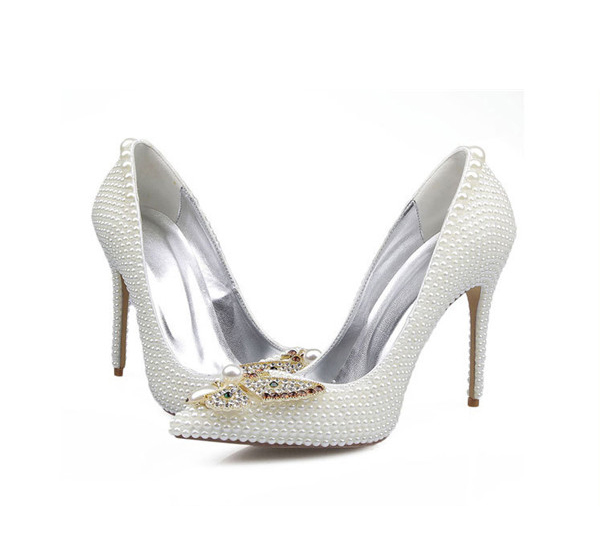 OEM Made Lady High Heel Dress Shoes With White Rhinestone Butterfly Featured Image
