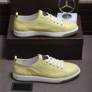 High Quality Private Lable Big Size Shoes Men Lace Up Shoes Yellow Punching Leather