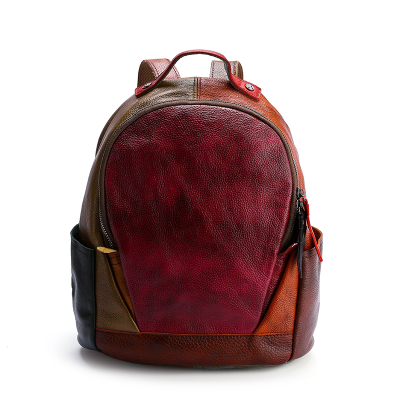 Colorful Top layer Matched Leather Backpack for lady