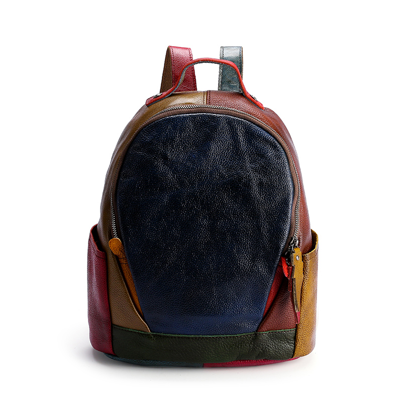 Genuine Leather Backpack, Colorful Leather matched Backpack