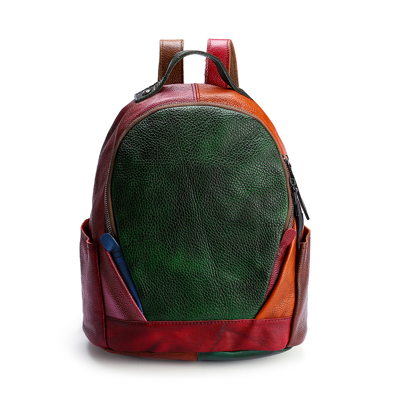 Genuine Leather Colorful Leather Backpack