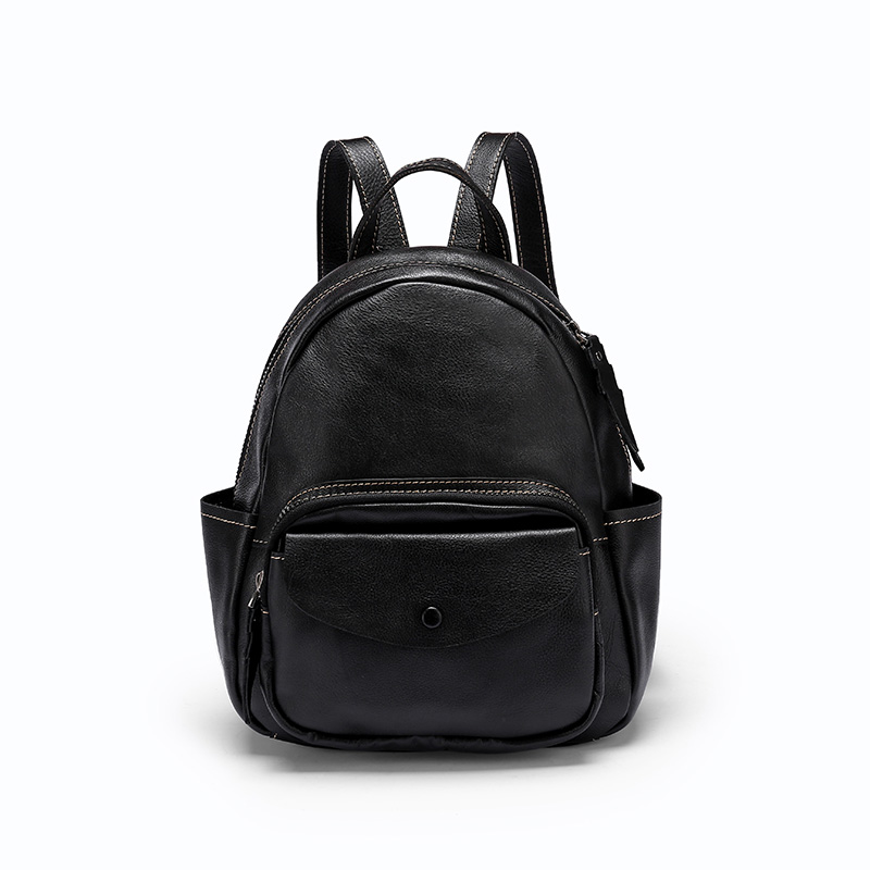 Genuine leather Black Backpack, casual backpack, travel leather backpack