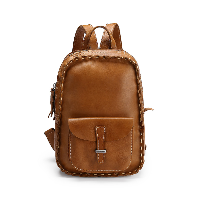 Fashion Stitching Leather Design Backpack, Travel backpack, Business backpack.