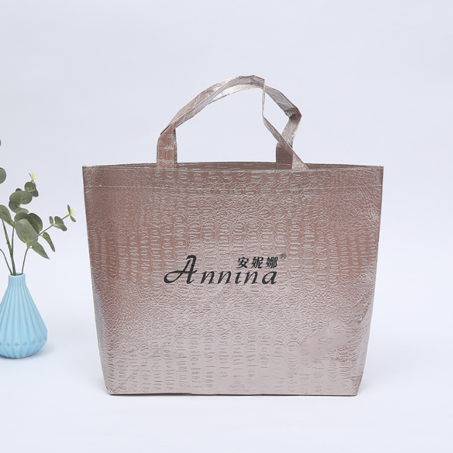 Gold holographic film shopping bag Shining laser film non woven tote bag