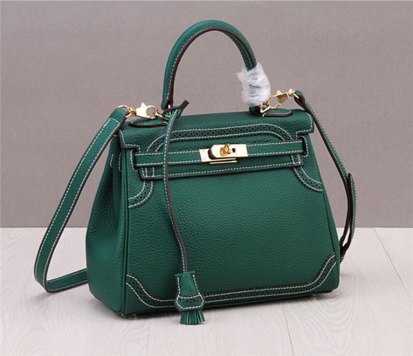 OEM Made Handbag Personalized Bags Fashion Ladies Designer Replica Handbags Green Cowhide
