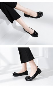 Women Most Comfortable Foldable Flat Shoes Calfskin Shoes With Rose Flower
