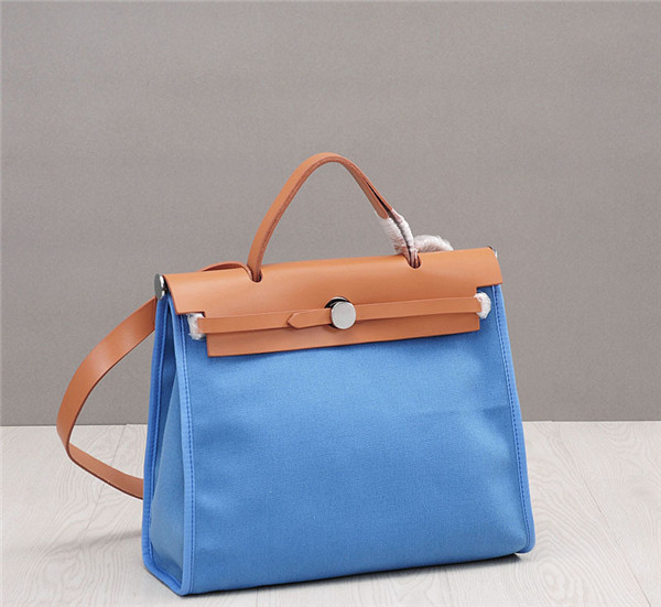 OEM Made Italian Designer Purses And Bags Cowhide Leather Matching jeans blue Canvas Bags
