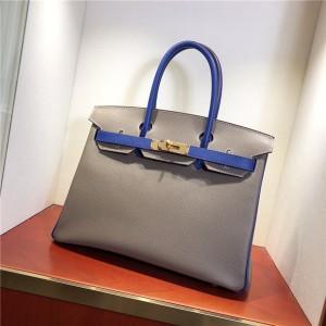 Famous Brand Grey Yellow Epsom Handbags For Women 30cm 35cm