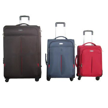 3-piece soft trolley case set, made of nylon