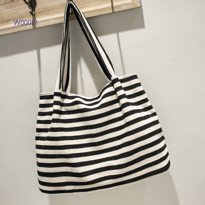 Canvas striped promotional women tote handbags hot sale women shopping bags