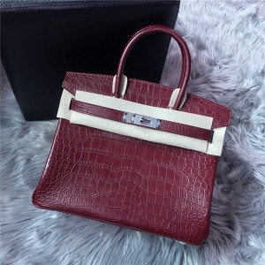 High Quality Wine Red Famous Brand Alligator Leather Handbag Manufacturer