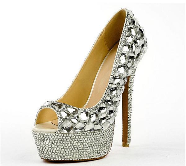 Silver Diamond 16cm Super High Heels Platform Pumps Women Featured Image