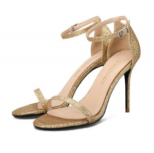 Silver Sequin Fine Heel Sandals Women