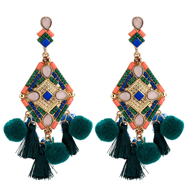 Pearl Rhinestone Tassel Earring Bohemian Style Earring Braid Knitting Earrings Hairball Earrings
