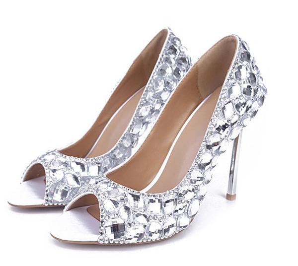 OEM Custom Made Crystal Heel Stiletto Shoes