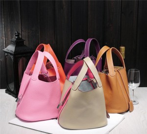 Custom Made Cow Leather Bags Mini Bucket Bag With Silk Scarf