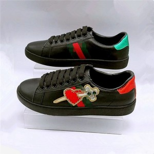 Black Leather Arrow Heart Embroidery Sports Shoes For Couples