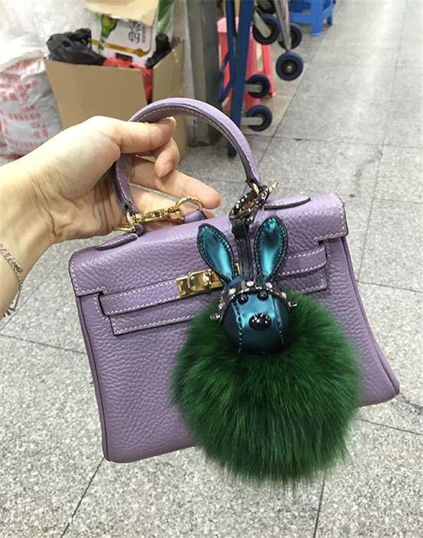 Bag Hanging Accessory Fashion Green Rabbit Fur Accessory For Bags