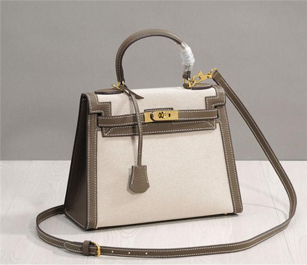 Factory Direct Sales Designer Handbags For Women Canvas Bags Linen Grey Leather Shoulder Strap Featured Image