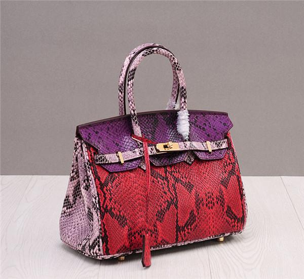 Ladies Snake Grain Cowhide Luxury Bags Women Handbags Birkin Totes