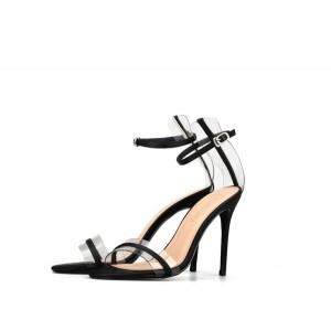 Lady Transparent Plastic Stiletto Sandals Women