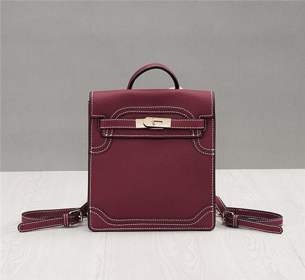 OEM Dark Red Lychee Leather Purses Handbags Brand Name Tote Bags Can Wear As Backpacks