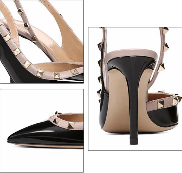 Black Cowhide Ladies Sandal With Rivets