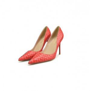Ladies Grey-White Snakeskin Microfiber Leather Stiletto High-Heeled Dress Shoes