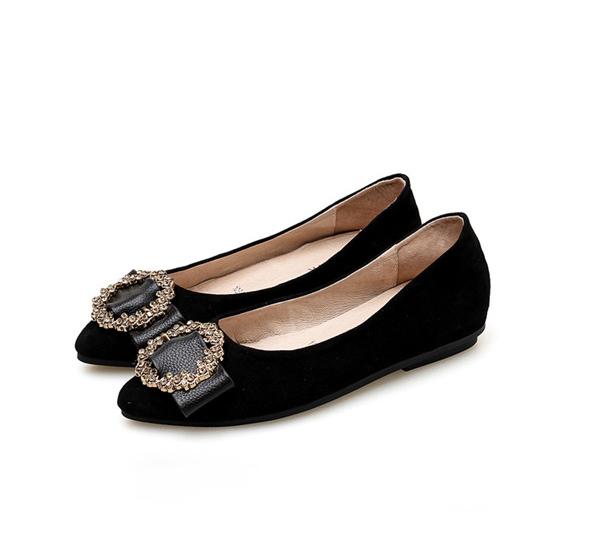 High Fashion Black Suede Shoes Women Pretty Flat Designer Shoes Manufacturer