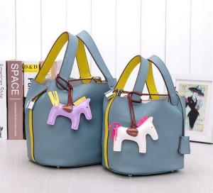 High Quality Genuine Leather Lychee Bucket Bag With Silk Scarf