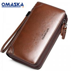 Wholesale classic PU leather men clutch bag oil wax surface long wallet