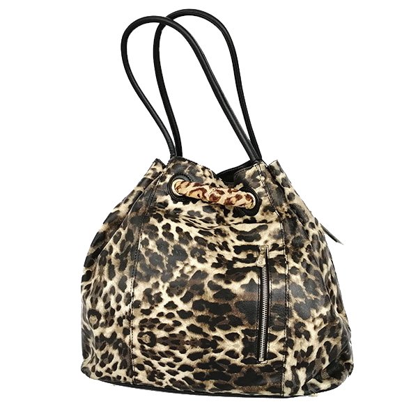 Leopard Print+ silk scarf big bag portable + one shoulder