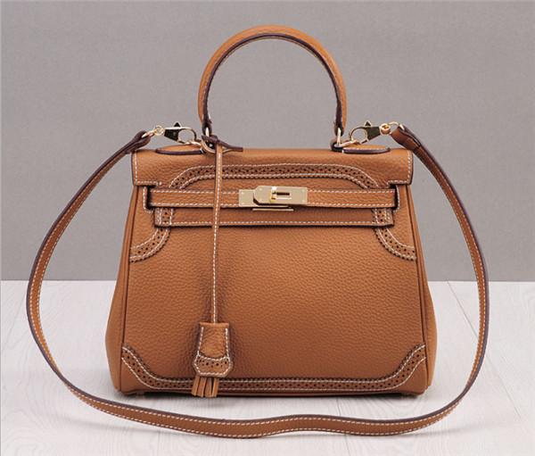 OEM Made Light Tan Plain Leather Purses Handbags Woman Purse