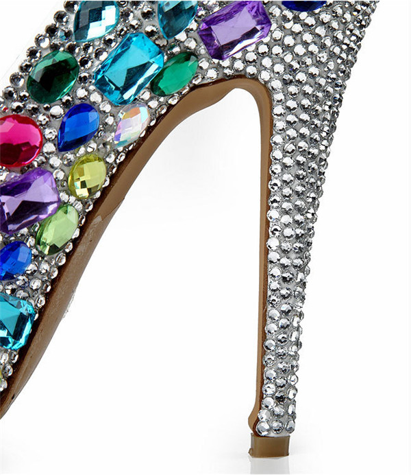Handmade Colorful Sequin Pearl 14cm Super High Heel Sexy Pumps Women