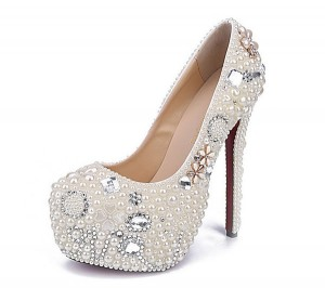 16cm Super High Heel Women Pure White Pearl Round Toe Platform Pumps Shoes