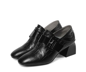 High Quality Women 5cm Heel Black Real Leather Step-On Shoes