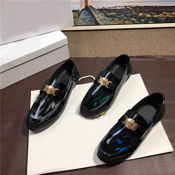 Custom Made Loafers Blue Patent Leather Hand Made Italian Styles Moccasin Famous Brand