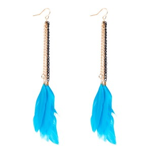 Wholesale Europe And The United States Brand Bohemian Style Women Blue Feather Earrings